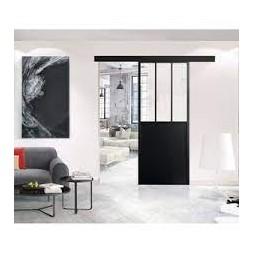 Porte coulissante style atelier noire + rails