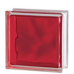 BRIQUE  DE  VERRE  BRILLY RED 19 X 19 X 8CM