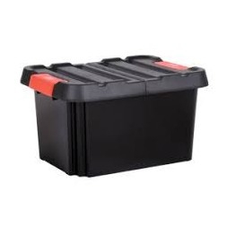 Bac de rangement avec couvercle noir/rouge 58L
