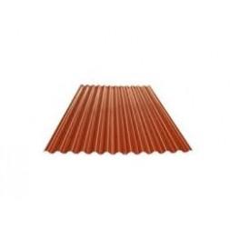 Tôle ondulée rouge brique 2 faces - 25microns/25microns - 75/100e (sans garantie) long 6m