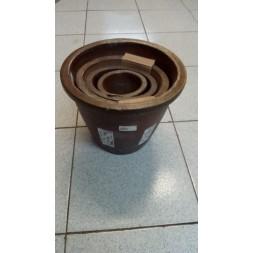 Pots en terre cuite foncée - 4 pièces