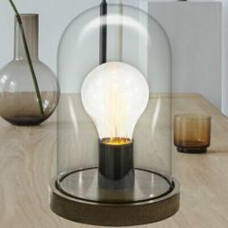 Lampe de table rétro Edison Dôme bois