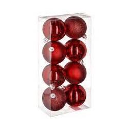 Lot de 8 boules de Noël rouge