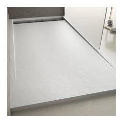 Receveur Pompeya Blanc finition Stone avec grille inox - SAGAR