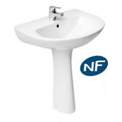 Lavabo Président 50 cm sur colonne blanc NF