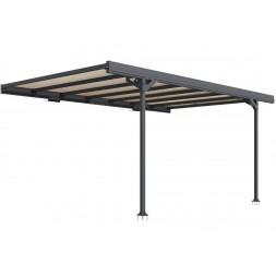 Carport métal adosse mistral gris anthracite 15.45 m²