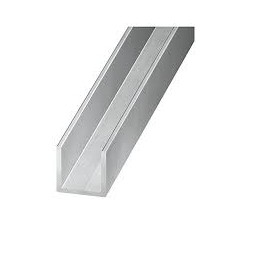 U aluminium 15 x 20 x15 x1.5mm x 1m brut