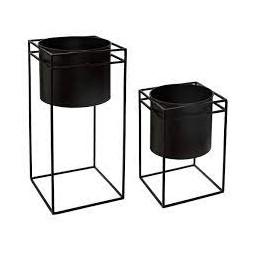 Lot de 2 pots + supports noirs