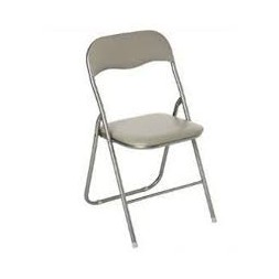 Chaise pliante PVC taupe
