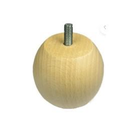 Pied boule hêtre naturel h. 70mm
