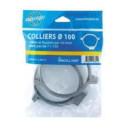 Collier PVC + vis charnière ø 80mm x 2 pces