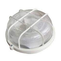 Hublot rond + grille plastique E27 100w blanc - TIBELEC