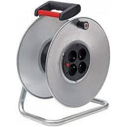 Enrouleur de câble silver avec 4 prises - BRENNENSTUHL -