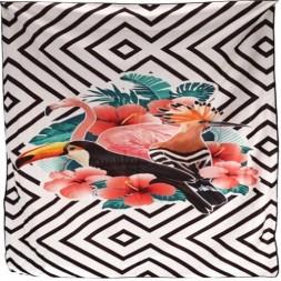 Serviette de plage 150 x 150 cm polyester blanc/noir - GERIMPORT