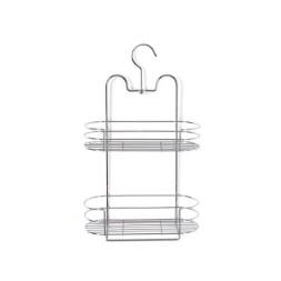 Étagère serviteur de douche en métal finition chromée avec 2 niveaux