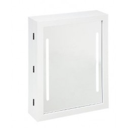 Armoire à bijoux avec LED - L 30 cm x l 9,4 cm x H 40 cm - Blanc