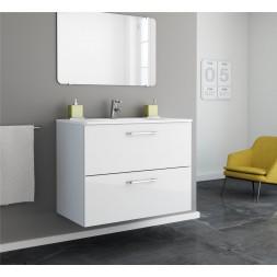 Meuble salle de bain blanc 80cm - HAPPY