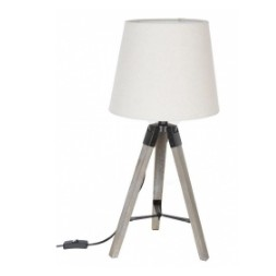 Lampe bois archi blanche