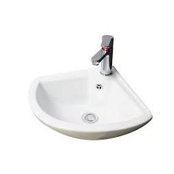 Pack lave-main d'angle blanc (lave-main+robinet+vidage et siphon