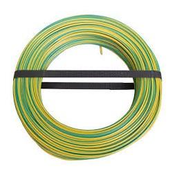 Fil H07VU 1.5mm vert jaune 100m