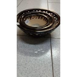 Pot en terre cuite émaille noir - 3 pièces
