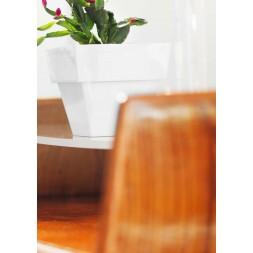 Pot de fleurs carré blanc 18cm