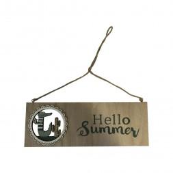 """Affiche suspendue """"HELLO SUMMER"""" 27 x 9cm"""