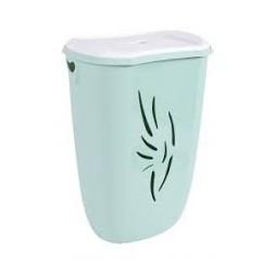 Coffre à linge avec couvercle Flora vert d'eau 40L