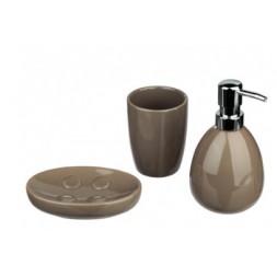 Set de 3 accessoires de bains taupe - ATMOSPHERA