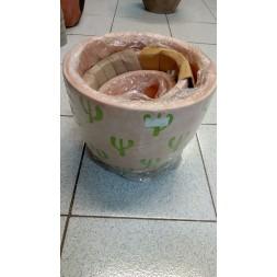 Pot en terre cuite peints - 3 pièces