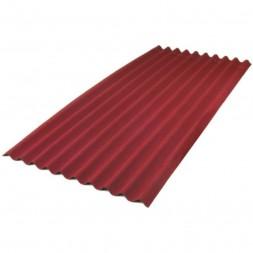 Tôle ondulée 1 face rouge brique - 25microns/5microns - 75/100e - sans garantie long 6m